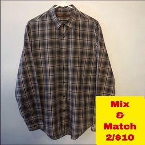 Perry Ellis Button Down Shirt Size Large Neck 16